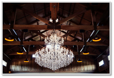Sycamore Farms' Main Hall - 8 ft Chandelier - Stunning Barn Wedding Venue